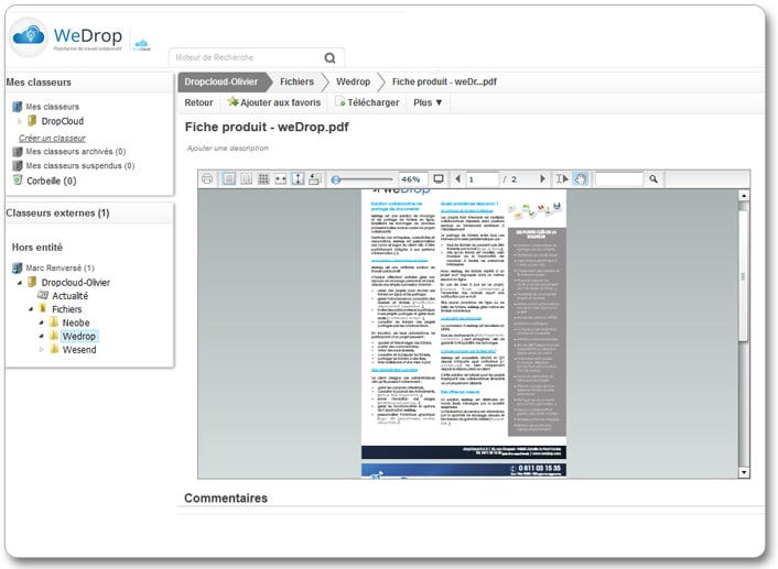 Document travail en ligne internet cloud wedrop