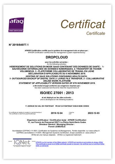 certificat iso 27001 dropcloud